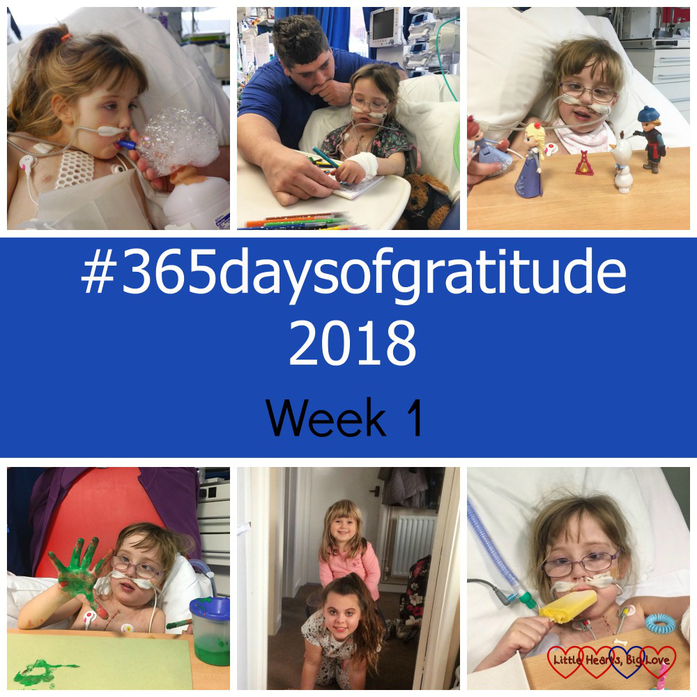"Jessica blowing bubbles on PICU; Jessica sitting on a chair in PICU and doing some colouring; Jessica playing with toys on her tray table; Jessica holding up a paint-covered hand; Sophie riding on her cousin's back; Jessica eating an ice lolly - ""#365daysofgratitude 2018 - Week 1"""