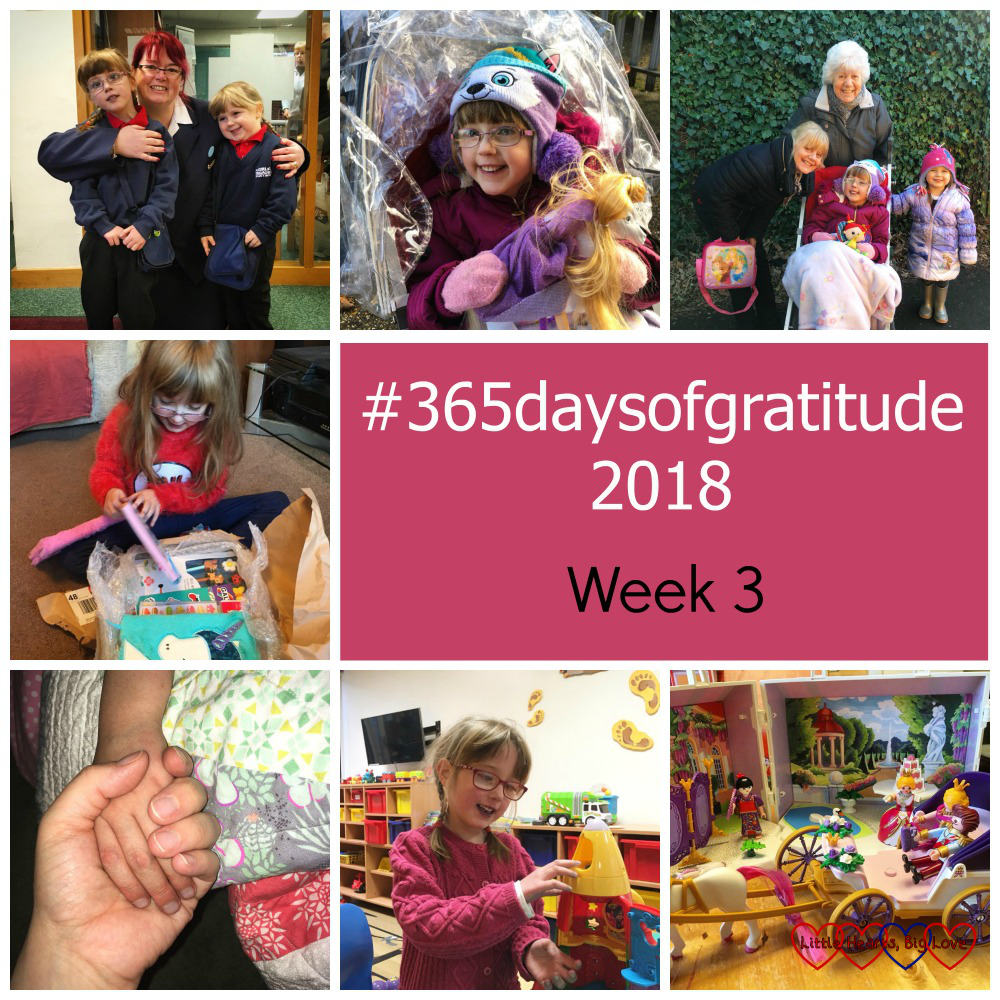"Jessica and Sophie with one of the Brigade leaders at church; Jessica in her buggy; Jessica and Sophie with Nanny and Auntie Loraynne; Jessica opening a parcel full of stationery; me holding Jessica's hand; Jessica playing in the playroom on Ocean Ward; a princess Playmobil scene - ""#365daysofgratitude - Week 3"""