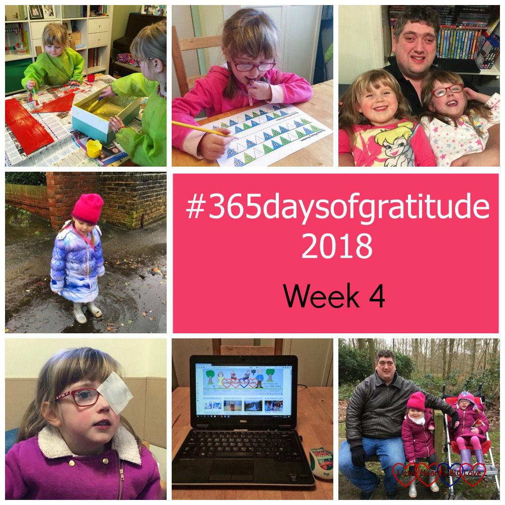 """Jessica and Sophie painting their shoebox house; Jessica doing schoolwork; hubby with Jessica and Sophie; Sophie splashing in a puddle; Jessica having an eye test; my laptop; hubby at the park with Sophie and Jessica - """"#365daysofgratitude - Week 4"""""""
