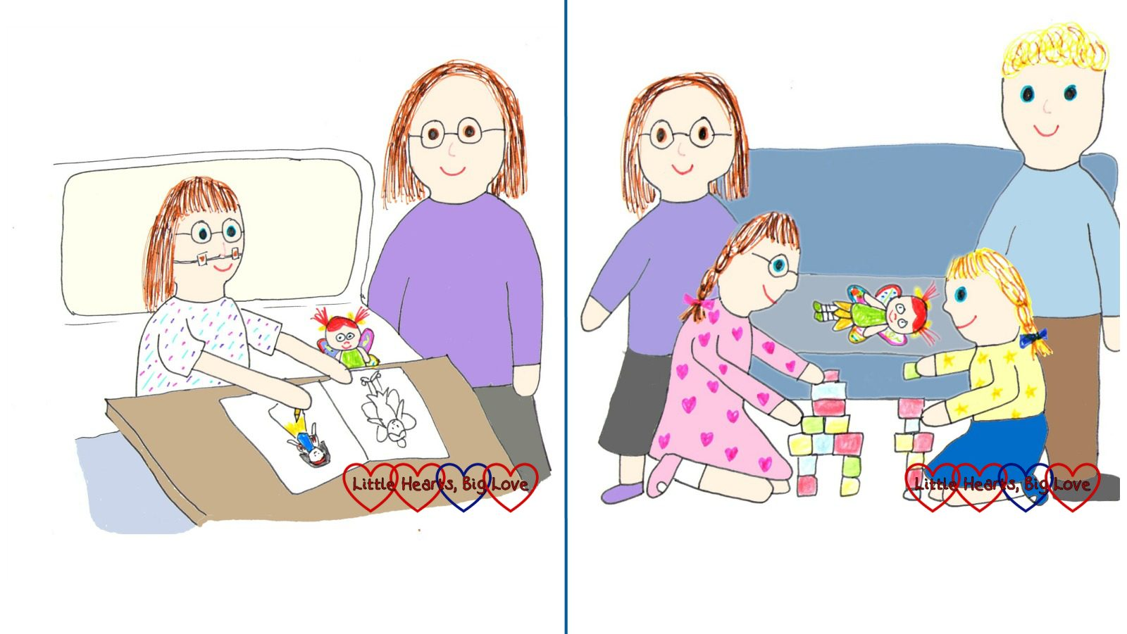 A drawing of Jessica in hospital and a drawing of us at home as a family after the hospital stay