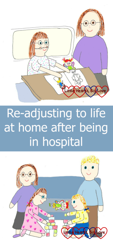 A drawing of Jessica in hospital and a drawing of us at home as a family after the hospital stay -