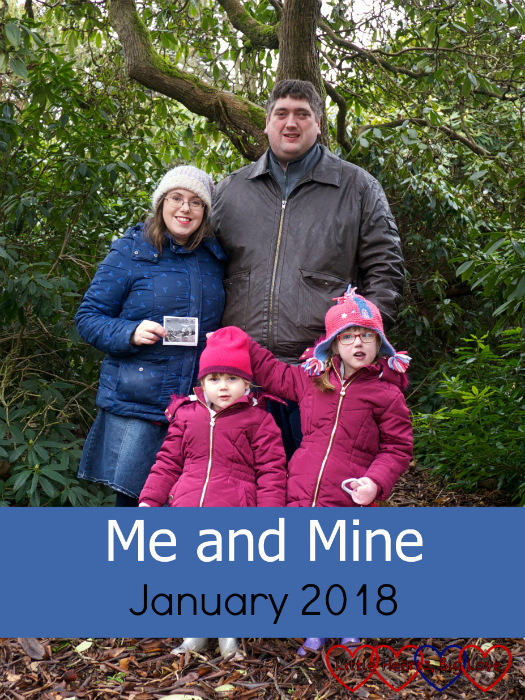 "Me, hubby, Jessica and Sophie standing by a tree with me holding a scan photo - ""Me and Mine - January 2018"""