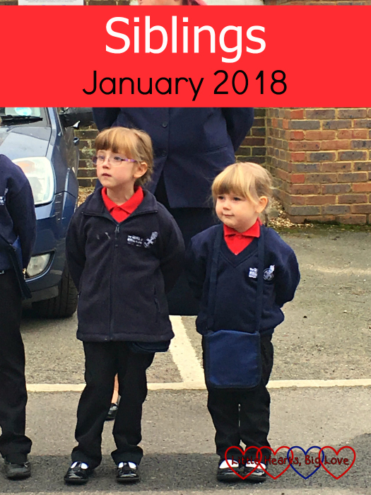 "Jessica and Sophie in their Girls' Brigade uniforms doing parade outside church - ""Siblings - January 2018"""