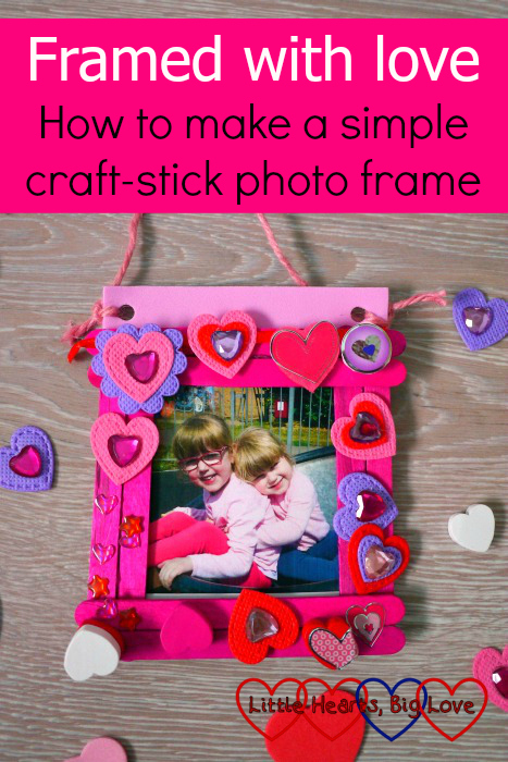 "A photo frame made from craft sticks and decorated with heart shapes. ""Framed with love: how to make a simple craft-stick photo frame"""