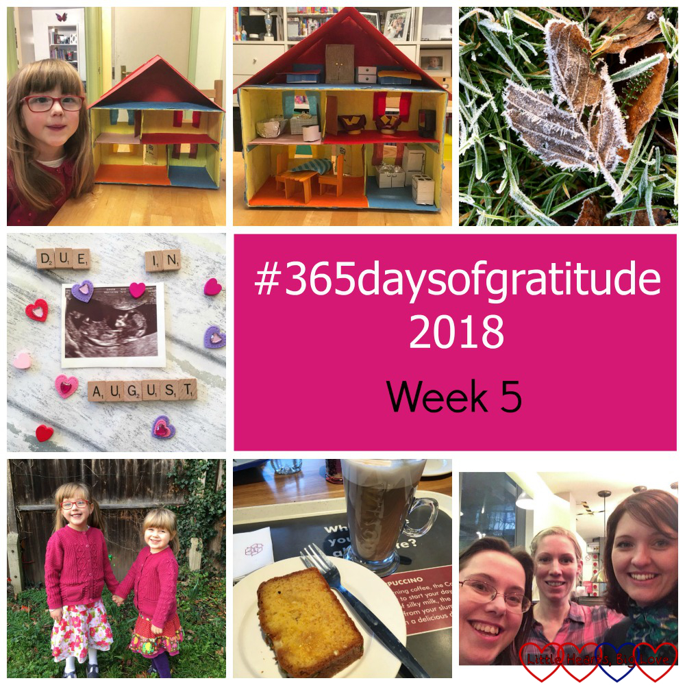 "Jessica with the shoebox house; the shoebox house filled with furniture; a frost-covered leaf; a scan picture with Scrabble letters saying ""due in August""; Jessica and Sophie in the garden holding hands; a slice of cake and a Costa coffee; me with two of my former Birth Centre colleagues - ""#365daysofgratitude - Week 5"""