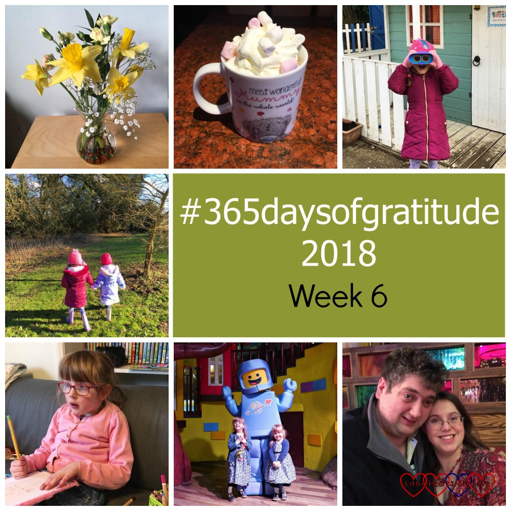 "A bouquet of daffodils; a hot chocolate with marshmallows and whipped cream; Jessica looking through binoculars; Jessica and Sophie walking hand-in-hand on a nature walk; Jessica drawing in a notebook; Jessica and Sophie with a mini figure at Legoland; me and hubby on a date night - ""#365daysofgratitude - Week 6"""