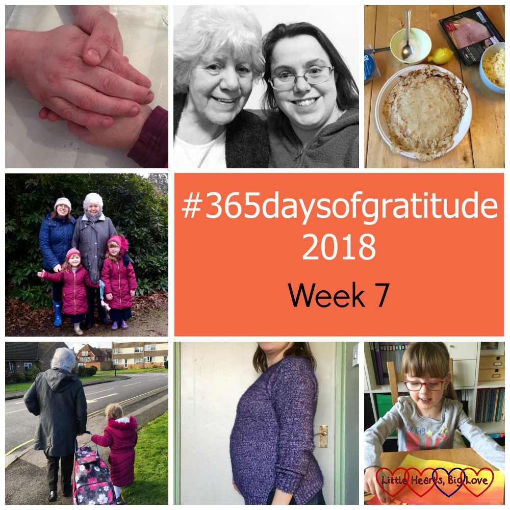"Me and hubby holding hands; me and my mum; pancakes; me, my mum, Jessica and Sophie; Sophie with my mum; my 14 week bump; Jessica making a sunset picture - ""#365daysofgratitude - Week 7"""