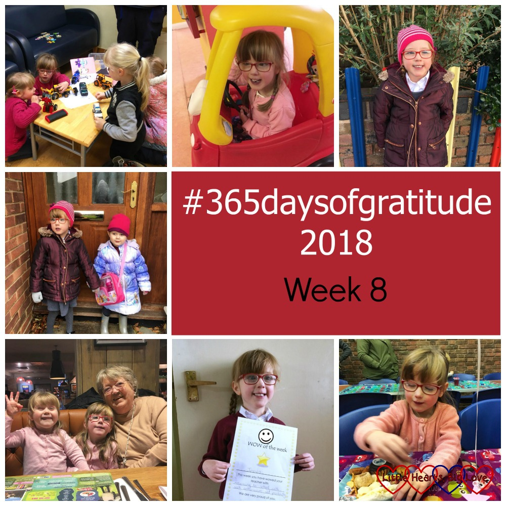 "Jessica and Sophie with their cousins; Jessica in a Little Tikes car at the hospital; Jessica on the school run; Jessica and Sophie heading off to school/preschool; Jessica and Sophie with Grandma; Jessica with her WOW of the Week award and Jessica at a birthday party - ""#365daysofgratitude - Week 8"""