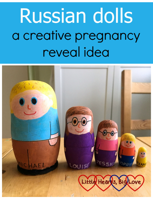 "A set of hand-painted Russian dolls representing my family - ""Russian dolls - a creative pregnancy reveal idea"""