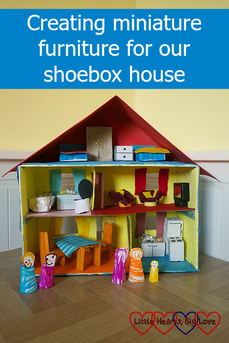 "A house made from a shoebox, complete with people adn furniture - ""Creating miniature furniture for our shoebox house"""
