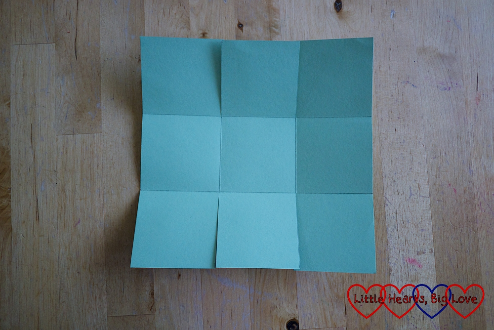 The square basket template with the top and bottom edges cut