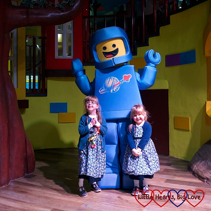 Jessica and Sophie with one of the Lego minifigures