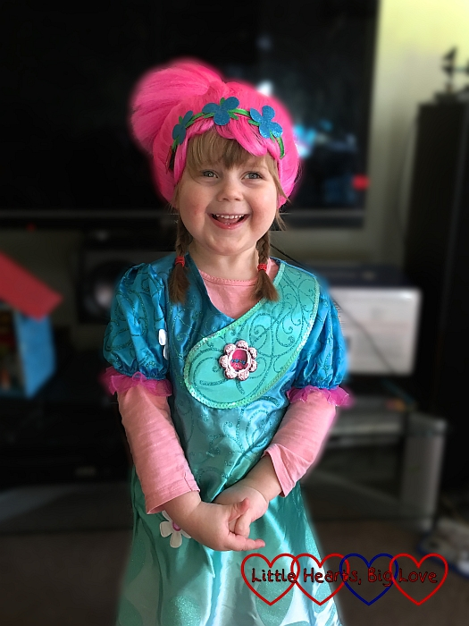Sophie in her Princess Poppy dress-up outfit