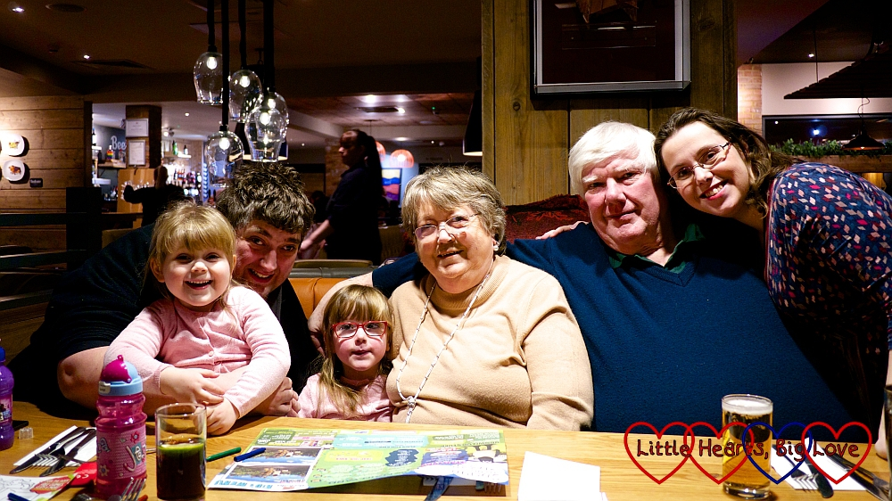 Sophie, hubby, Jessica, Grandma, Grandad and me at a meal to celebrate Grandma's birthday