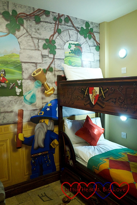 The bunk beds in the children's sleeping area in our room at the Legoland Hotel