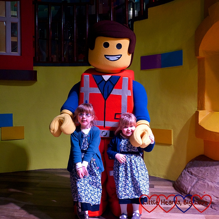 Jessica and Sophie with one of the Lego Minifigures characters