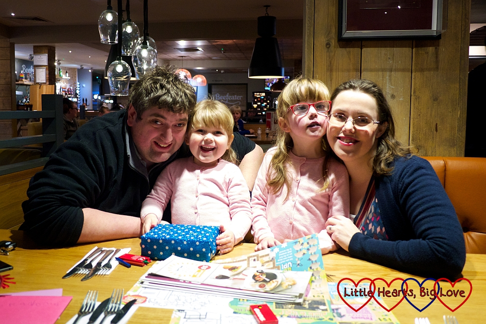 Hubby, Sophie, Jessica and me out for a meal to celebrate Grandma's birthday