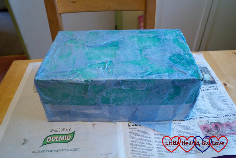 The outside of the shoebox covered in a layer of tissue paper