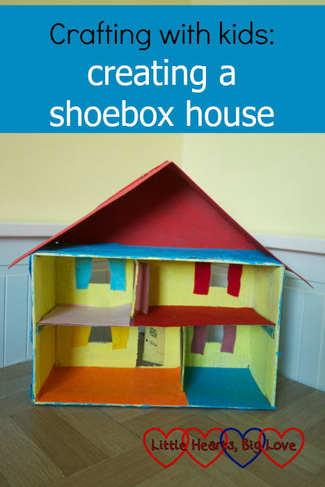 "A house made from a shoebox - ""Crafting with kids: creating a shoebox house"""