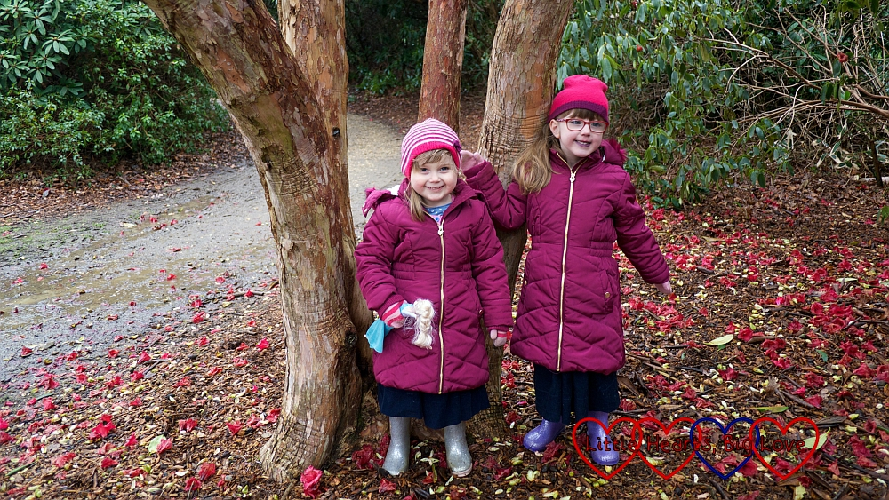 Jessica and Sophie standing by a tree in Langley Park