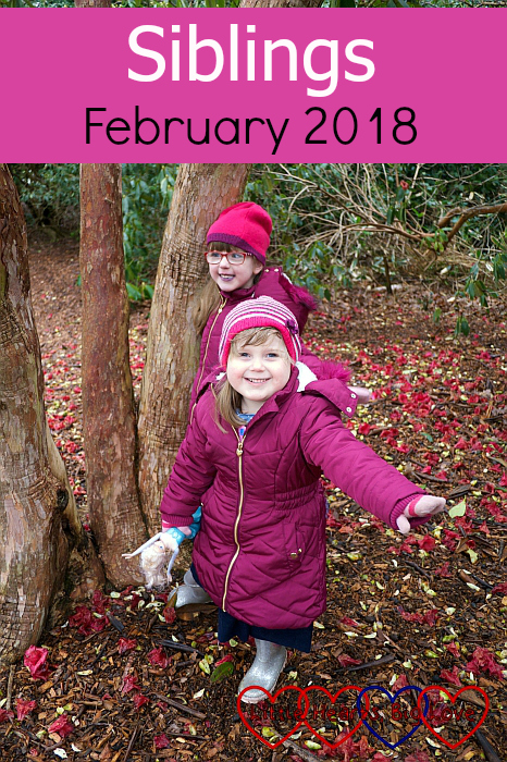 "Jessica and Sophie standing by a tree with Sophie in front - ""Silings - February 2018"""