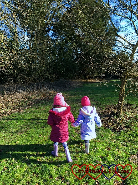 Jessica and Sophie exploring the meadow hand-in-hand