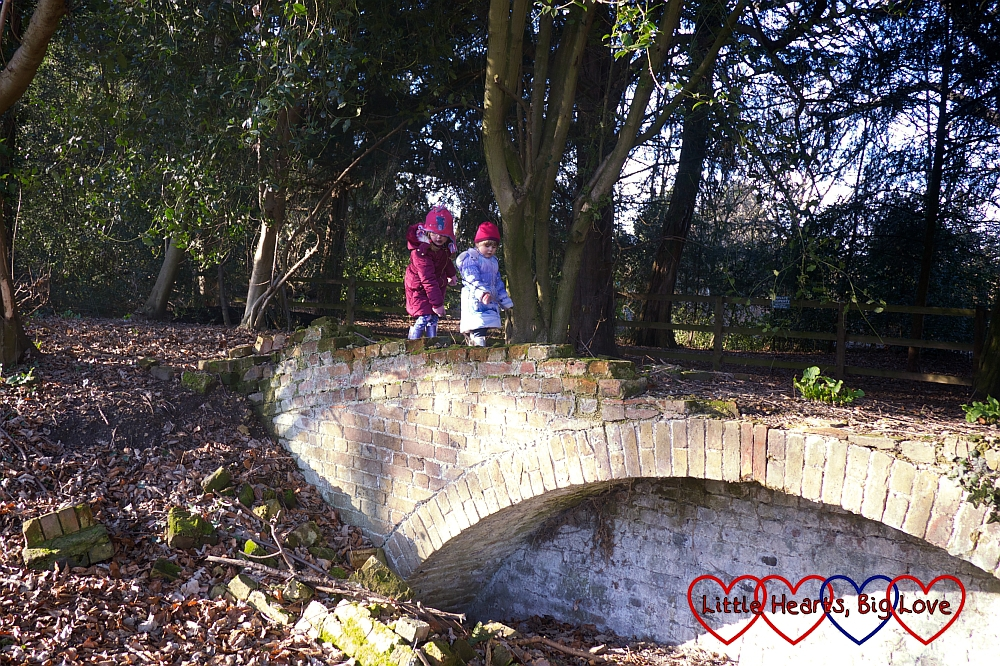 "Jessica and Sophie running over the ""Billy Goats Gruff Bridge"""