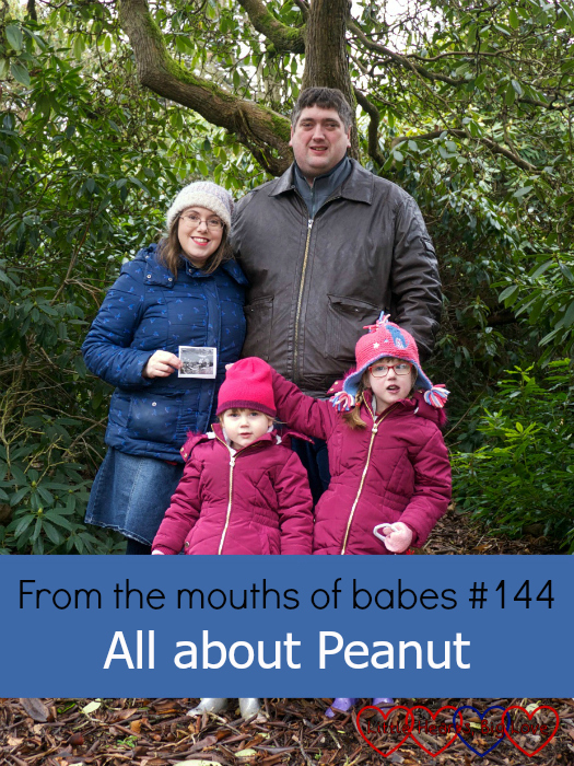 "Me (holding a scan pic), hubby, Jessica and Sophie - ""From the mouths of babes #144 - All about Peanut"""