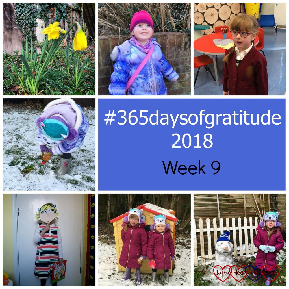 Daffodils in the garden; Sophie in her hat and coat; Jessica at the children's clinic; Sophie doing some snow painting; Jessica dressed as Lola from the Charlie and Lola books; Sophie and Jessica standing outside their playhouse in the snow; Jessica standing next to a snowman