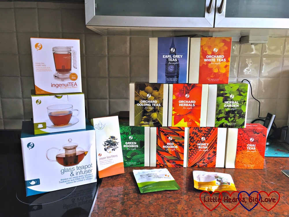 The selection of tea I received from Adagio Teas plus two teapots, paper tea filters and a glass cup and saucer