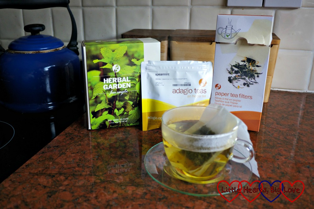 Spearmint tea in a glass cup and saucer with the tea sample box and paper tea filters in the background