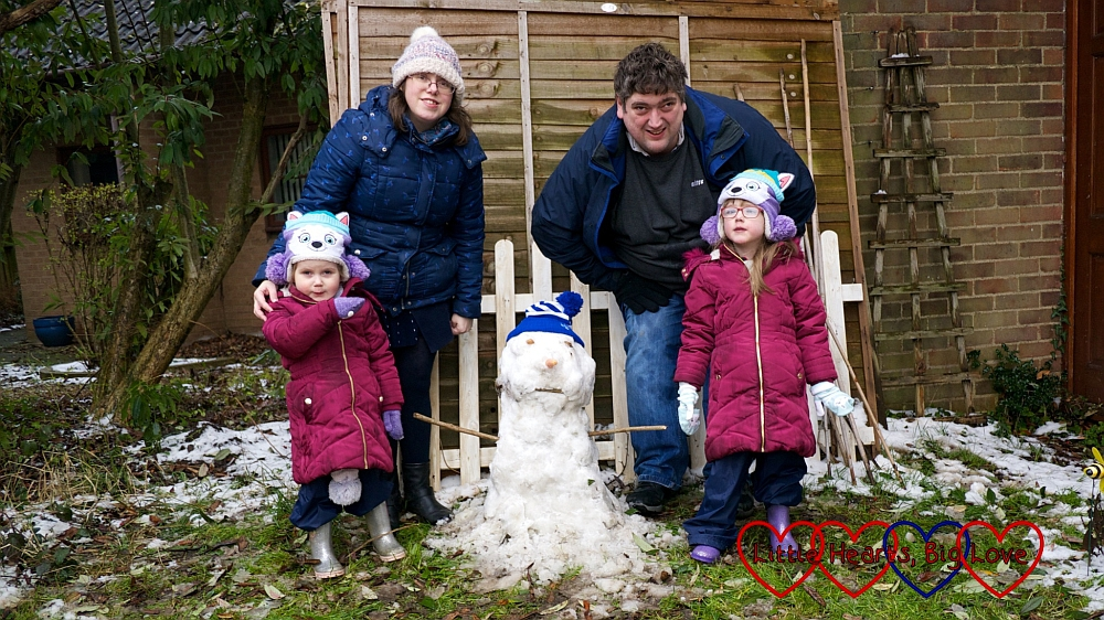 Me, hubby, Jessica and Sophie with our snowman