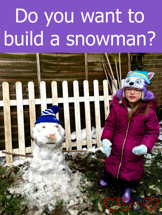 "Jessica with a snowman - ""Do you want to build a snowman?"""