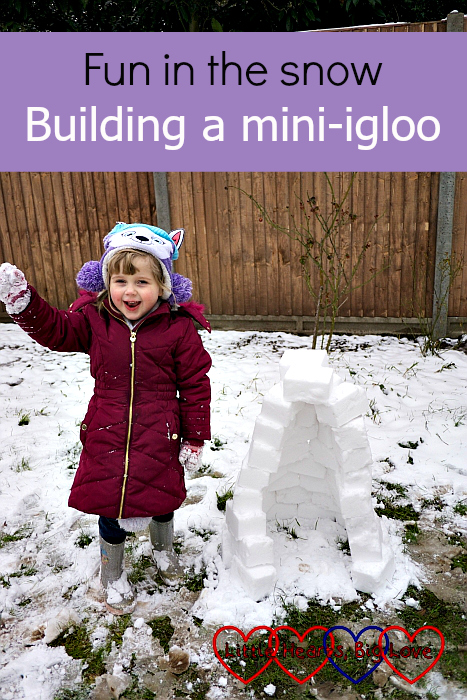 "Sophie in the garden with her mini-igloo - ""Fun in the snow: building a mini-igloo"""