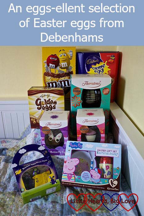 "Eight Easter eggs from the range available in-store at Debenhams - ""An eggs-ellent selection of Easter eggs from Debenhams"""