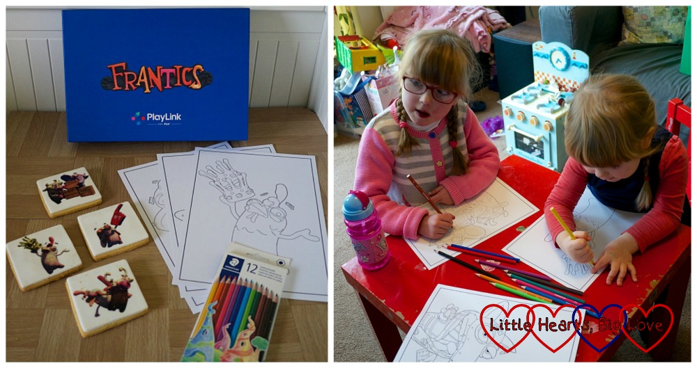 (l) the Frantics box with Frantics-themed biscuits, colouring sheets and colouring pencils; (r) Jessica and Sophie colouring in the colouring sheets