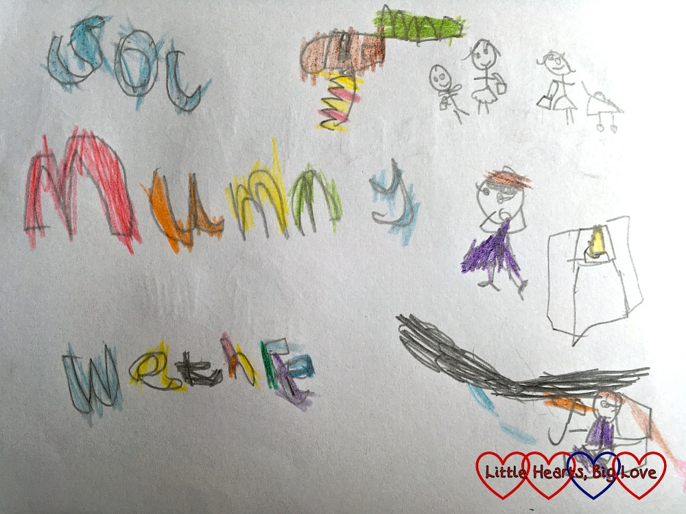 """Jessica's words with illustrations - first word I'm not quite sure about, second word is """"Mummy"""" and third word is """"Wethre"""" (weather)"""