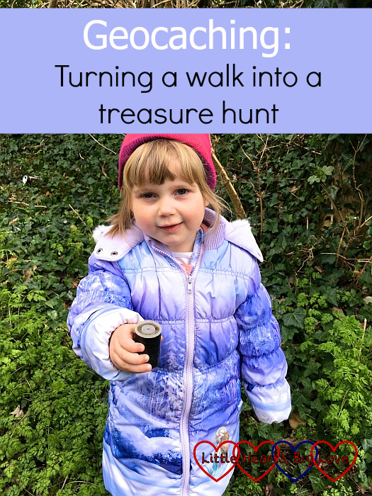 "Sophie holding a geocache - ""Geocaching: turning a walk into a treasure hunt"""
