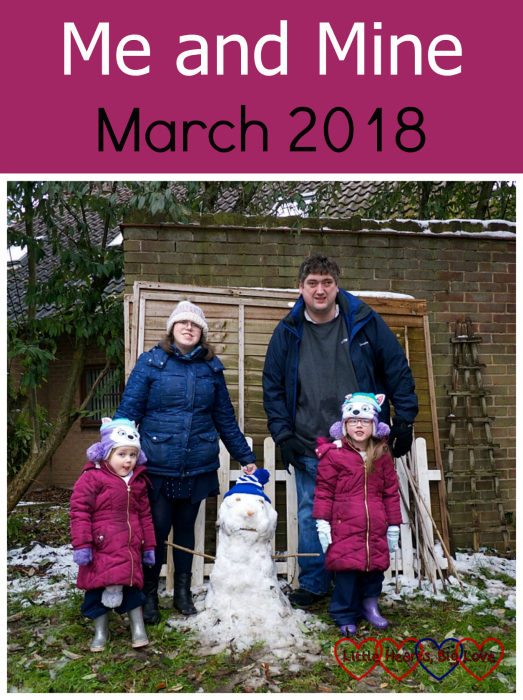 "Me, hubby, Jessica and Sophie in the garden with our snowman - ""Me and Mine - March 2018"""