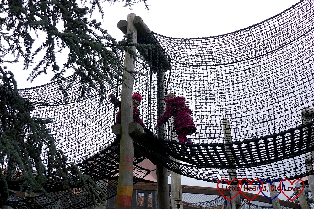 Jessica and Sophie exploring one of the net walkways in the Amazu Treetop Adventure