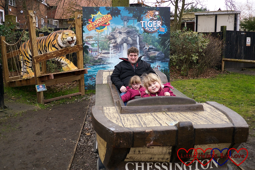 Hubby, Jessica and Sophie posing in the Tiger Rock boat