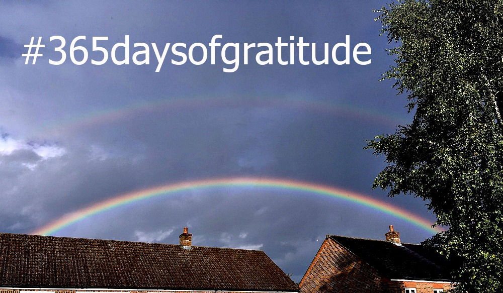 "A double rainbow over houses - ""#365daysofgratitude"""