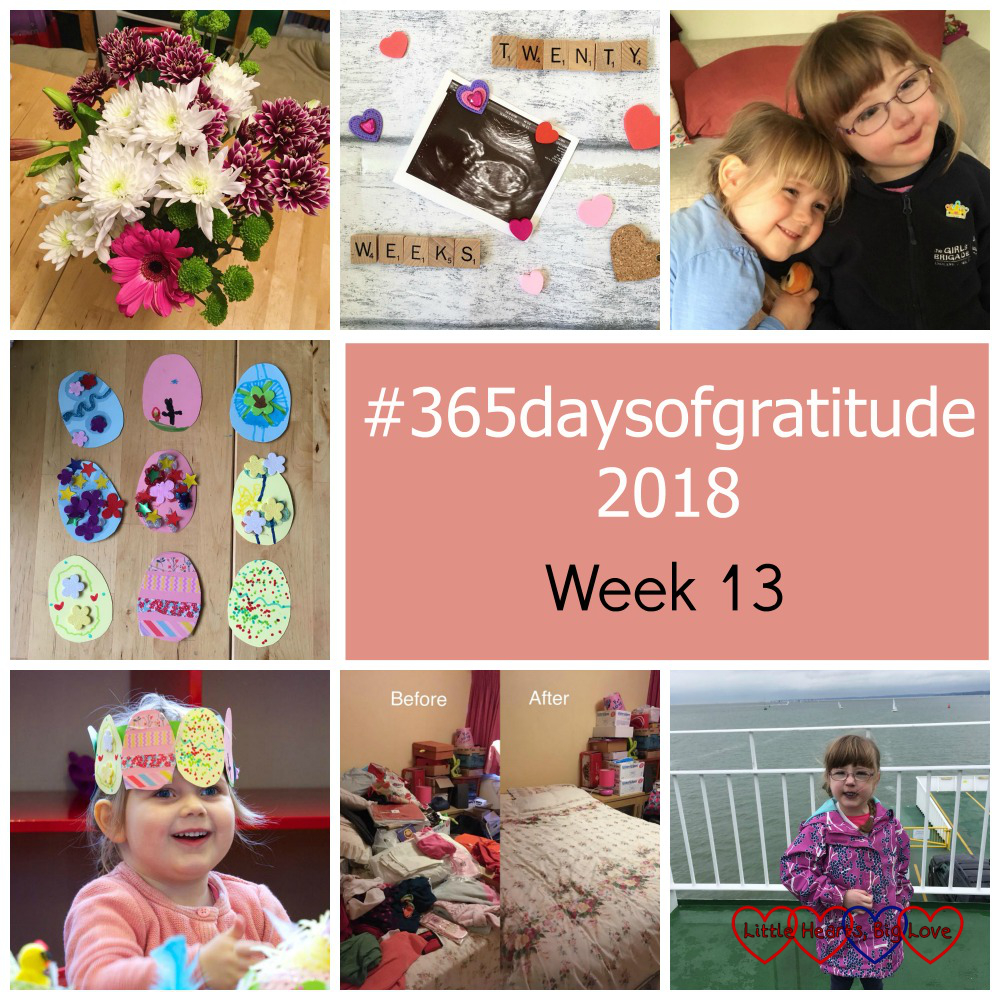 "A bouquet of flowers; Peanut at the 20 week scan; Jessica and Sophie having a snuggle; cardboard Easter eggs for the Easter crown; Sophie wearing her Easter egg crown; the spare room before and after clearing out; Jessica on the Isle of Wight ferry - ""#365daysofgratitude 2018 - week 13"""