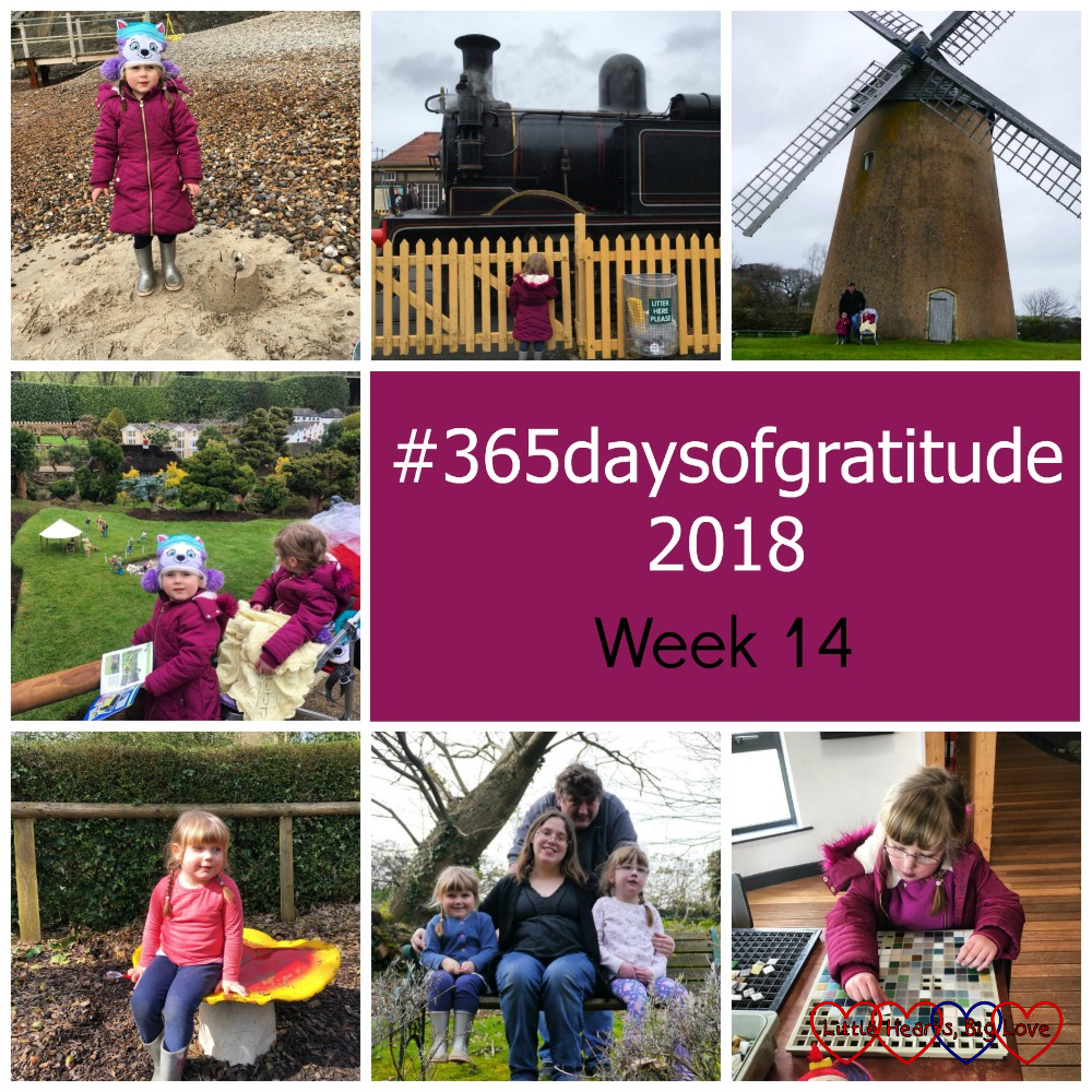 "Sophie with a sandcastle at the Needle;, Sophie watching a steam train go past; hubby, Jessica and Sophie at Bembridge Windmill; Jessica and Sophie at Godshill Model Village; Sophie sitting on a toadstool at Blackgang Chine; me, hubby, Jessica and Sophie sitting on a bench in a garden; Jessica making a mosaic tile - ""#365daysofgratitude - Week 14"""