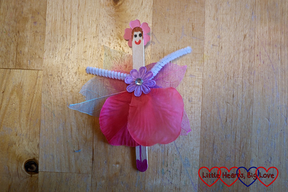The finished craft stick flower fairy