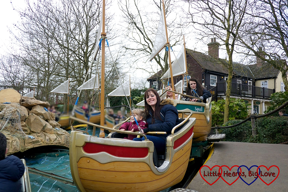 Sophie and Auntie Fizz on Seastorm at Chessington