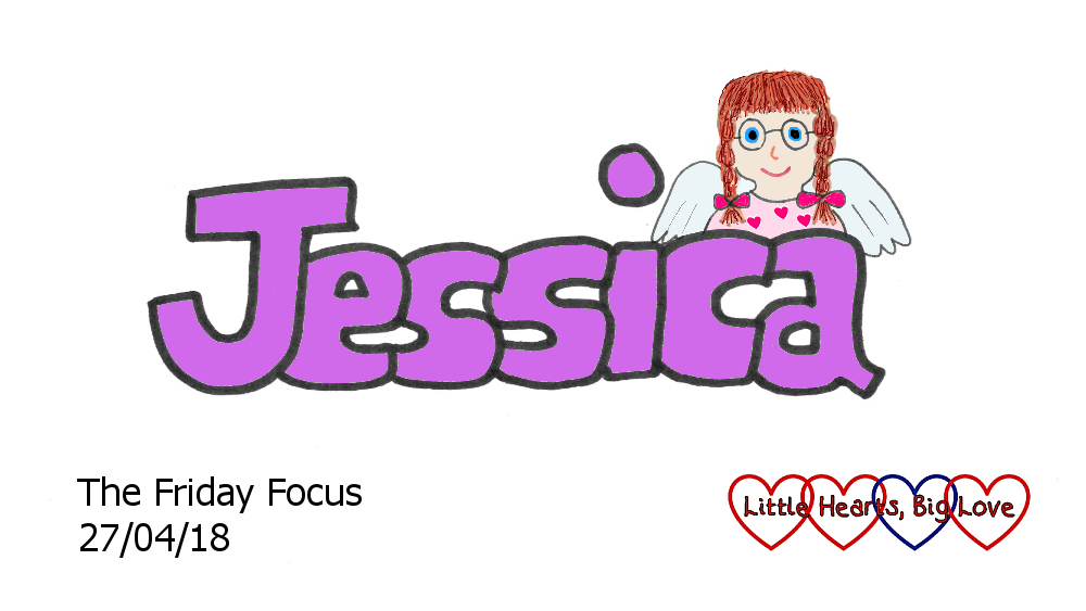 The word Jessica with a drawing of my heart angel