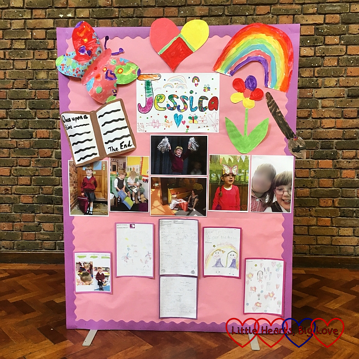 The display board in the hall at the start of the special assembly for Jessica