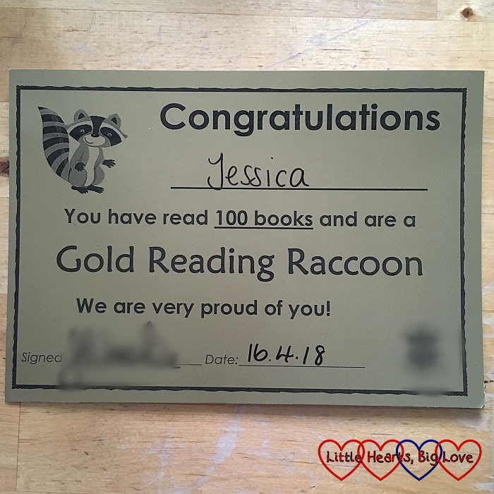 Jessica's gold reading raccoon certificate