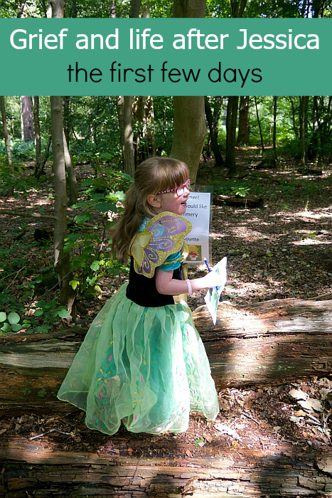 "Jessica dressed as a fairy princess in the woods at Black Park - ""Grief and life after Jessica: the first few days"""